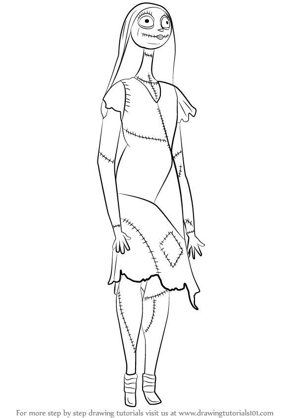 596x843 Learn How To Draw Sally From The Nightmare Before Christmas (The