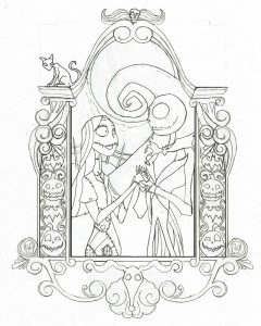 240x300 Nightmare Before Christmas Jack And Sally Coloring Pages