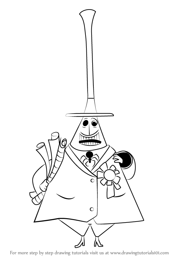 596x843 How To Draw Mayor Of Halloween Town From The Nightmare Before