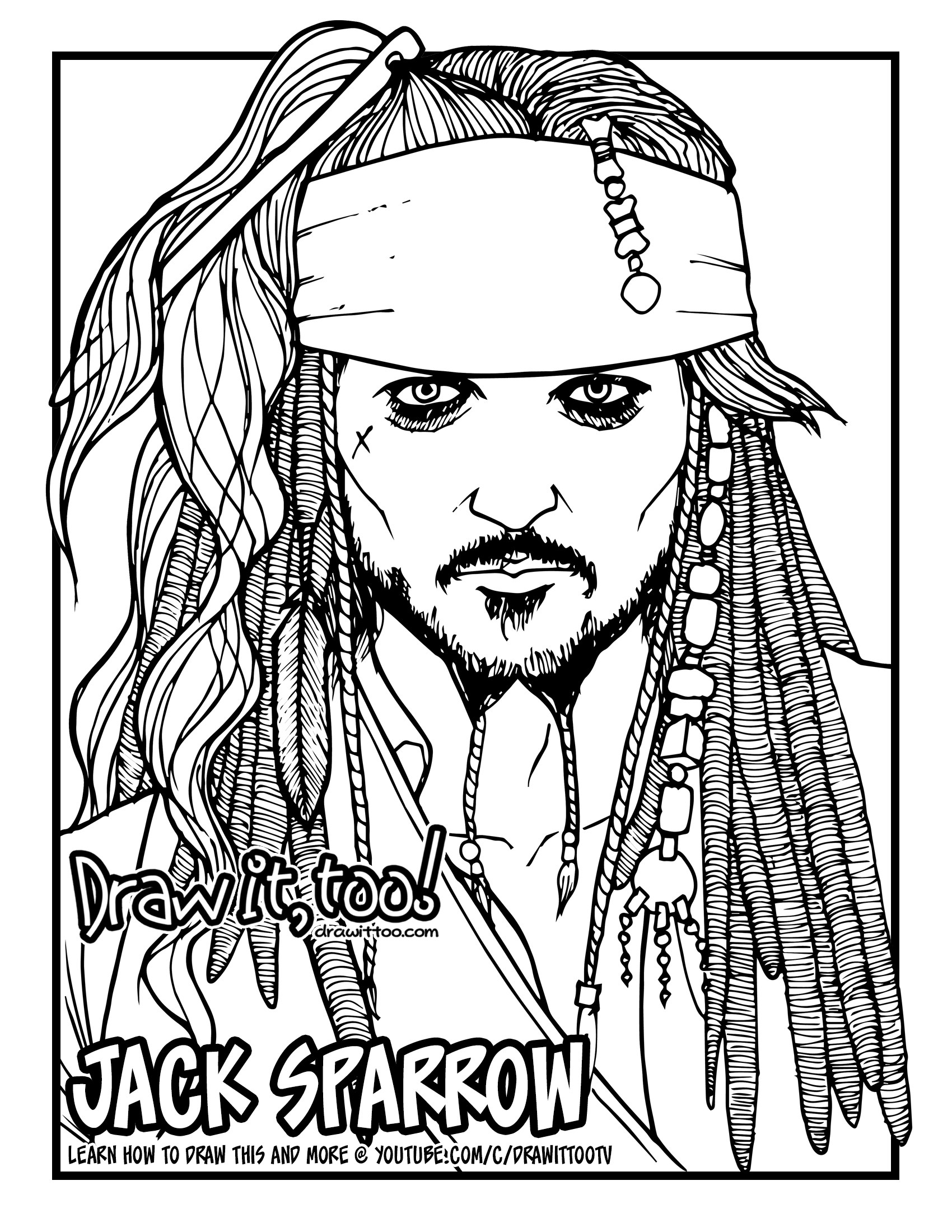 1700x2200 How To Draw Jack Sparrow (The Pirates Of The Caribbean) Narrated