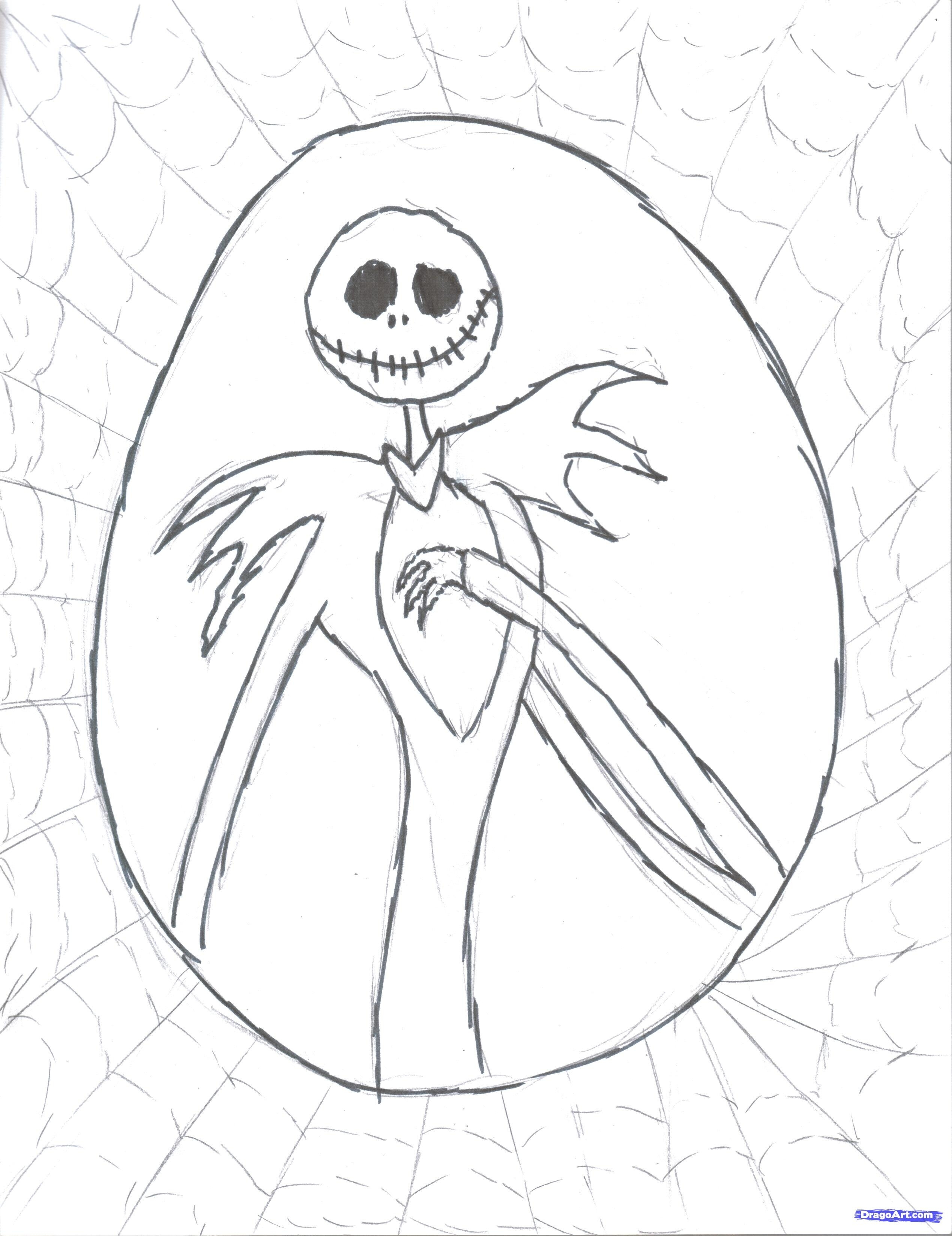 2538x3293 How To Draw Jack Skellington Step By Step Printable Coloring