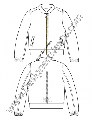 316x409 V22 Windbreaker Jacket Fashion Technical Drawing Template