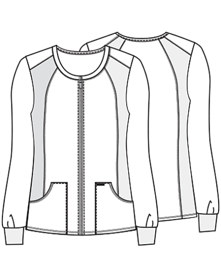450x565 Cherokee Pro Flexibles 2306 Zip Front Knit Panel Warm Up Jacket