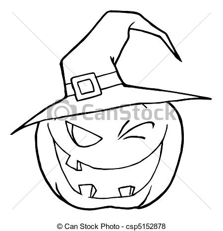 450x466 Halloween Pumpkin. Coloring Page Outline Of A Toothy Vector