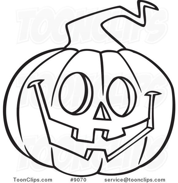 581x600 Cartoon Black And White Line Drawing Of A Happy Jackolantern