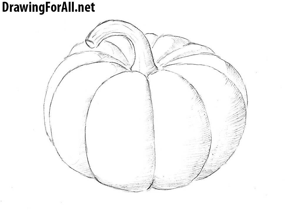 1000x721 How To Draw A Pumpkin Pumpkins Drawings, Yayoi