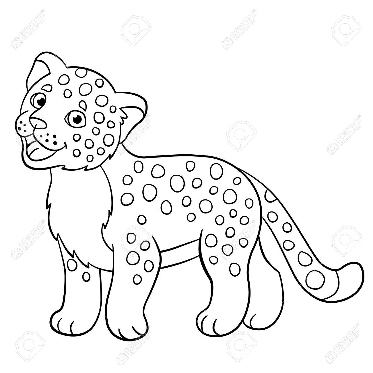 1300x1300 Coloring Pages. Little Cute Spotted Baby Jaguar Smiles. Royalty
