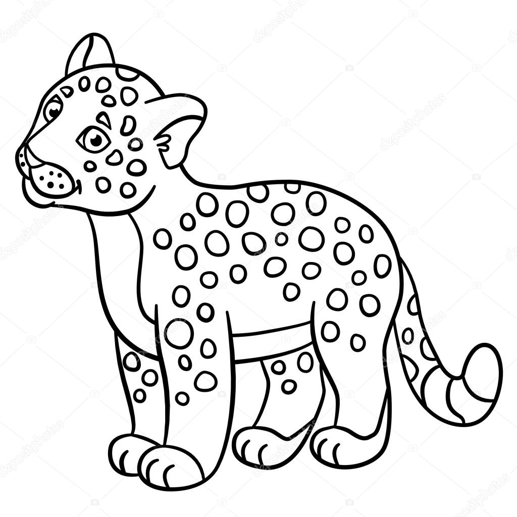 1024x1024 Coloring Pages. Little Cute Baby Jaguar Smiles. Stock Vector