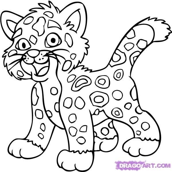 599x597 How To Draw Baby Jaguar From Go Diego, Step By Step, Nickelodeon
