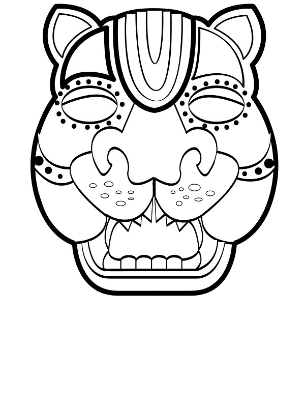 600x800 Mayan Jaguar Mask Stickers By Deanozoff Redbubble