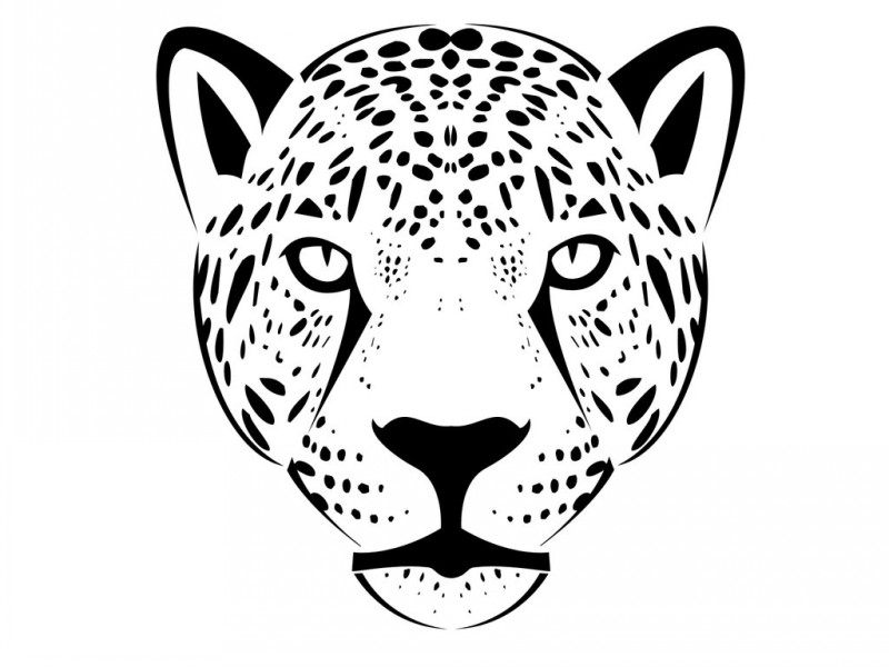 800x600 Simple Black Outline Jaguar Face Tattoo Design By Mask Maker
