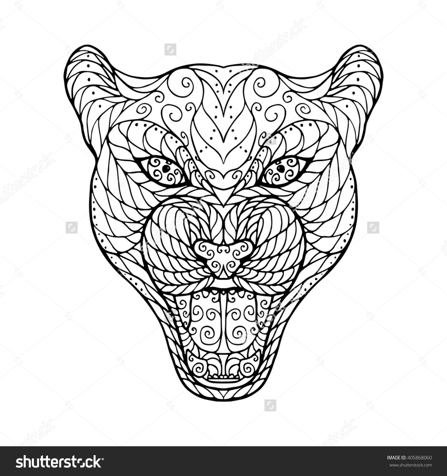 1500x1600 Zen Tangle Head Of Jaguar, For Adult Anti Stress Coloring Page