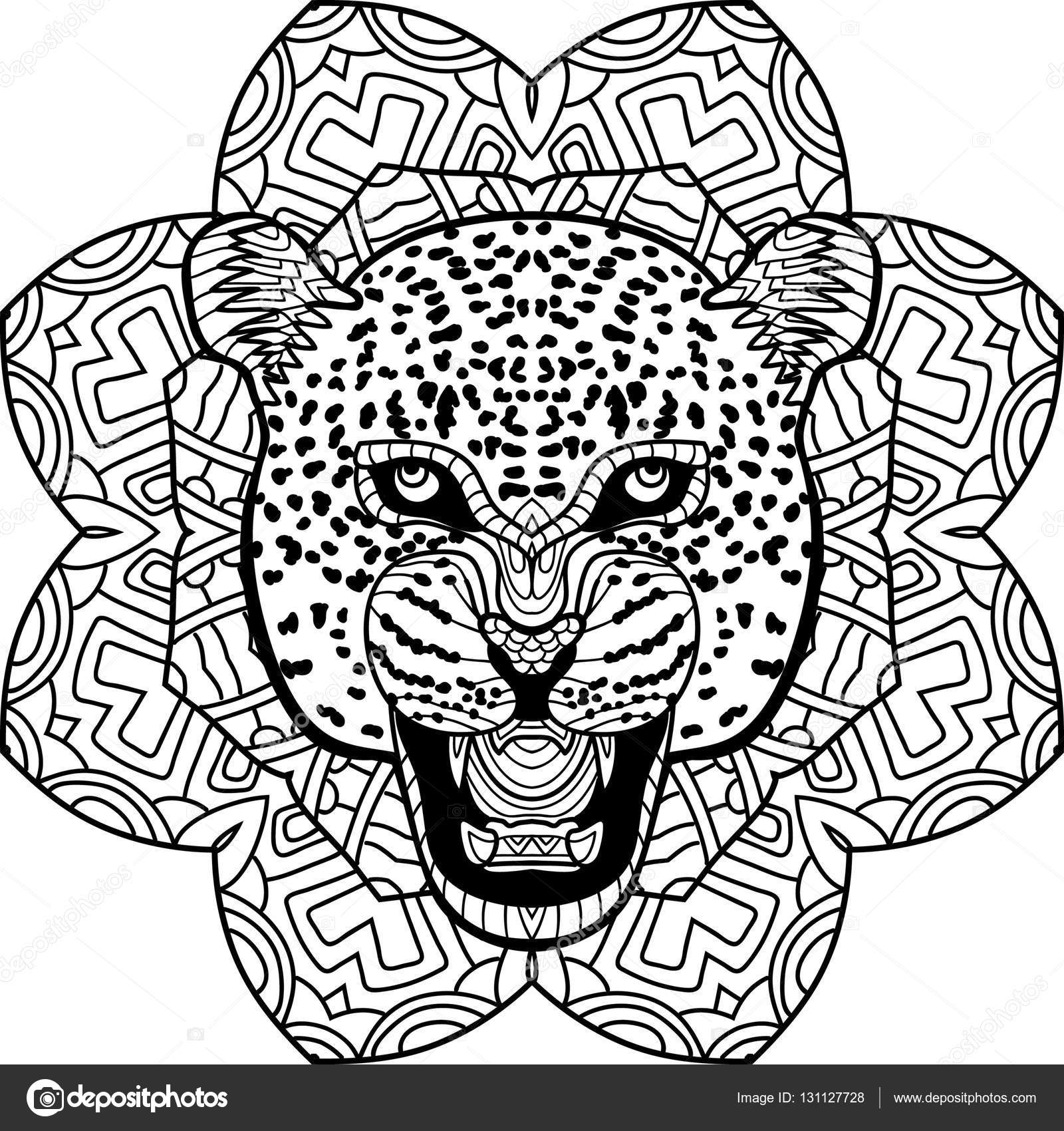 1600x1700 Coloring Page Fordults. Stern Jaguar On Background