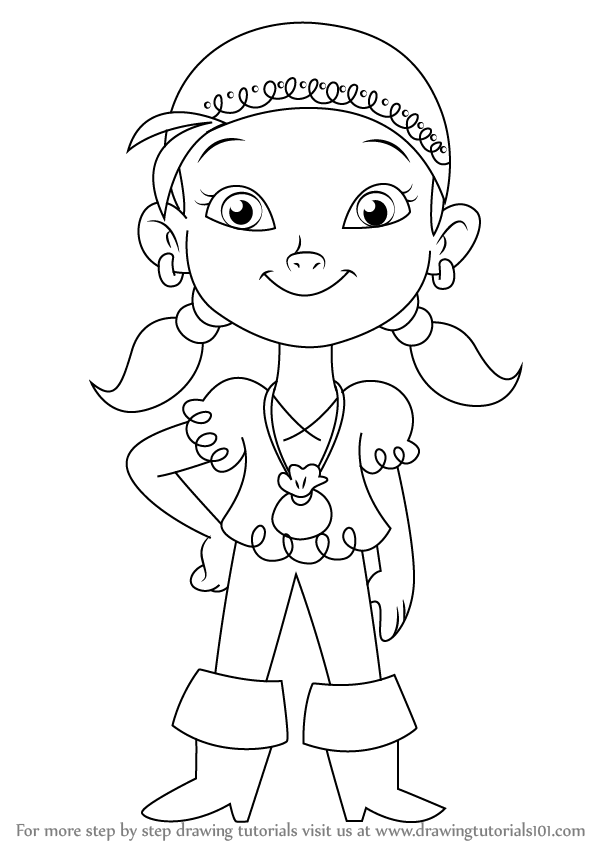 598x844 Learn How To Draw Izzy From Jake And The Never Land Pirates (Jake