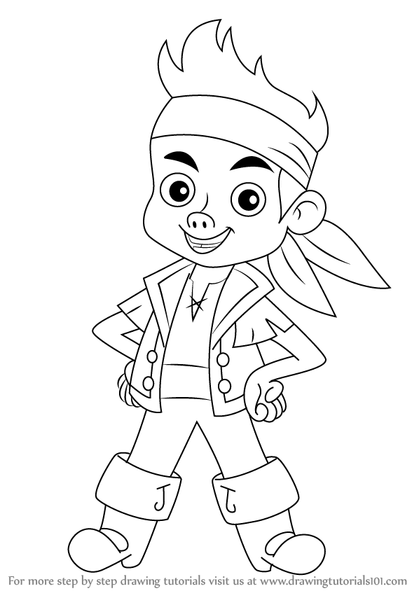 598x844 Learn How To Draw Jake From Jake And The Never Land Pirates (Jake