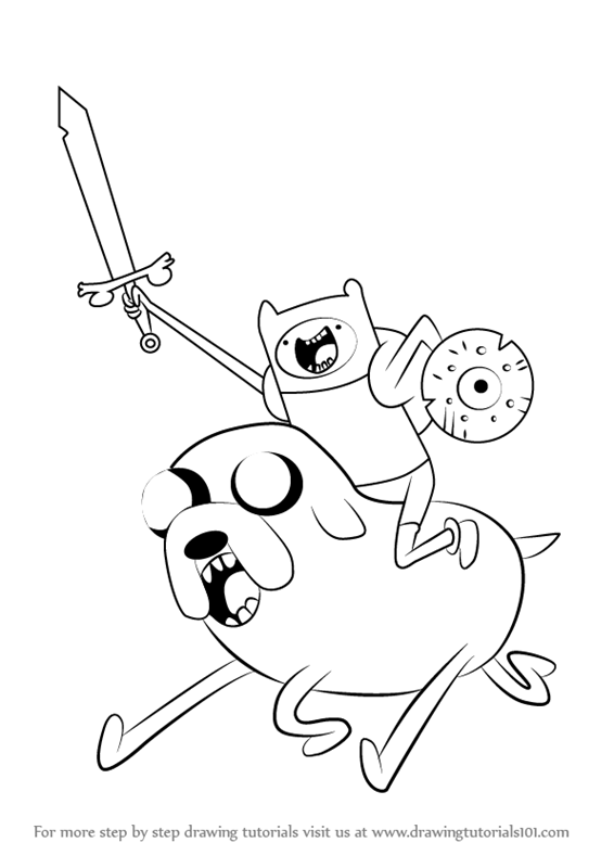 566x800 Learn How To Draw Finn Riding Jake From Adventure Time (Adventure