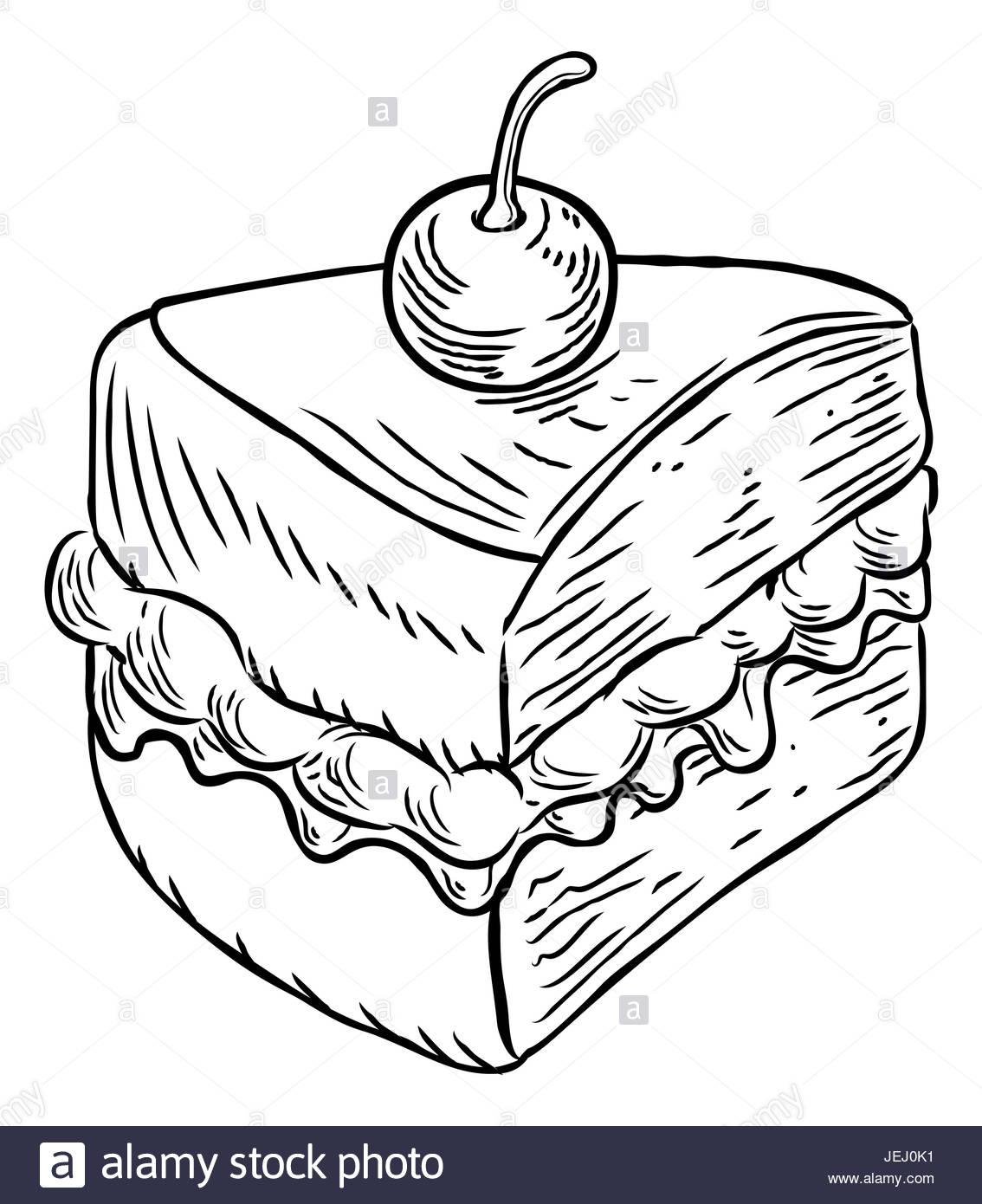 1134x1390 A Jam And Cream Victoria Sponge Cake Slice With Cherry, Hand Draw