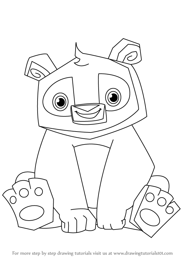 597x844 Learn How To Draw Panda From Animal Jam (Animal Jam) Step By Step