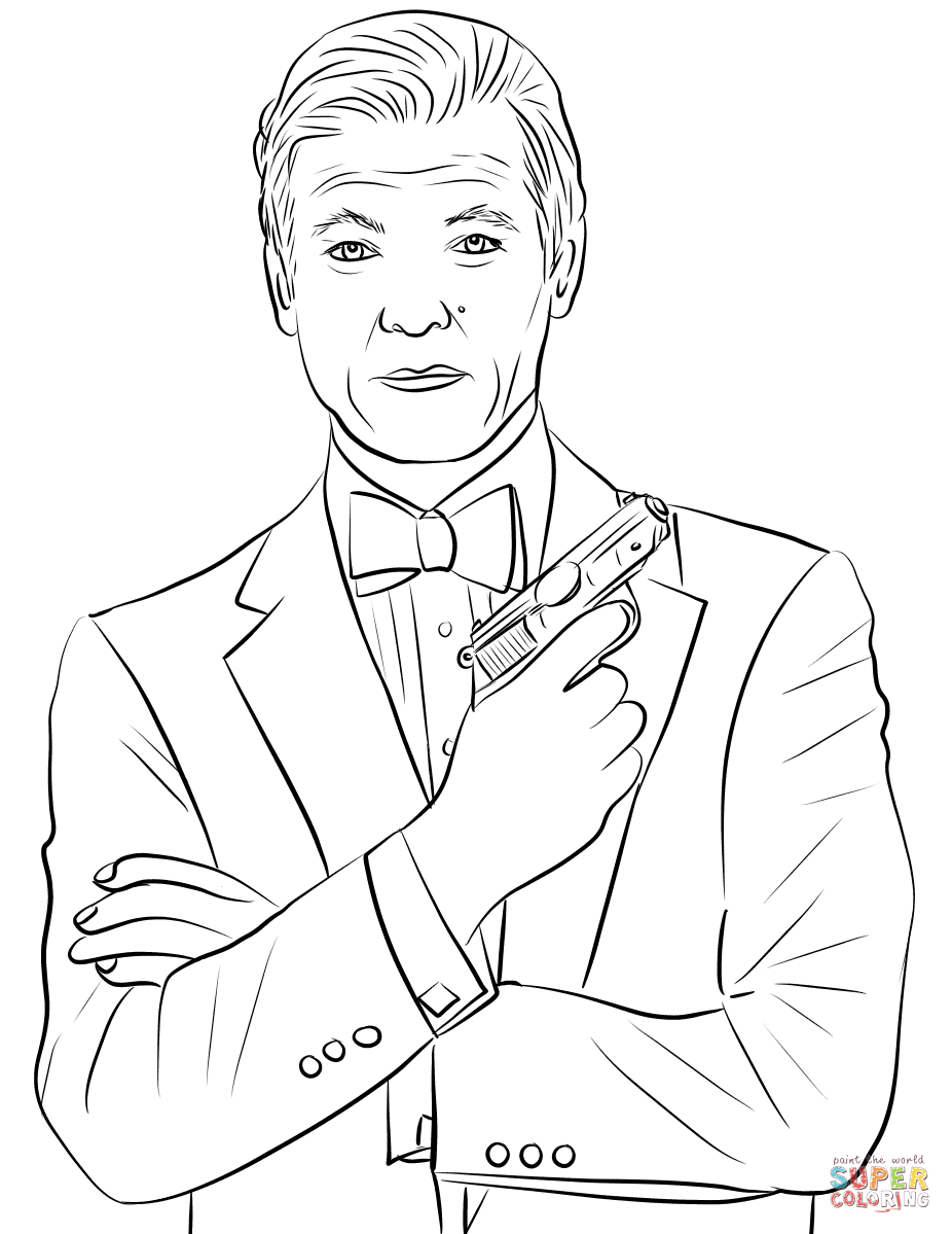 926x1199 Roger Moore As James Bond Coloring Page Free Printable Coloring