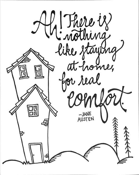 570x718 Jane Austen Home Quote Word Art Jane Austen