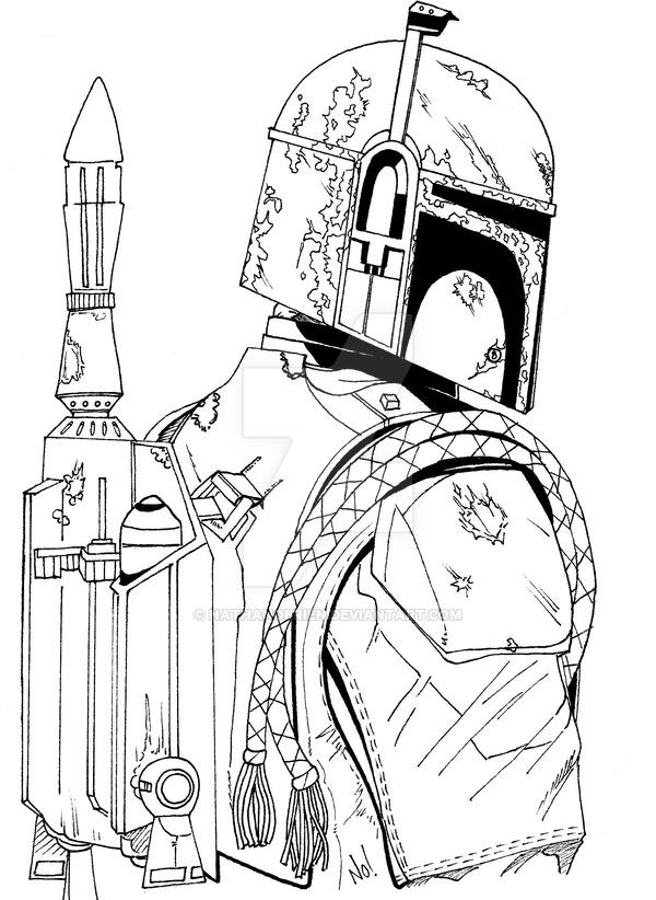 600x822 Boba Fett Line Art By Nathanobrien