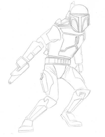 425x553 Patrick's Awesome Reviews How To Draw Jango Fett.