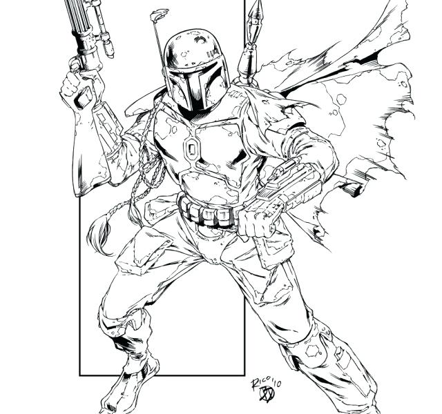 640x600 Star Wars Coloring Pages Jango Fett