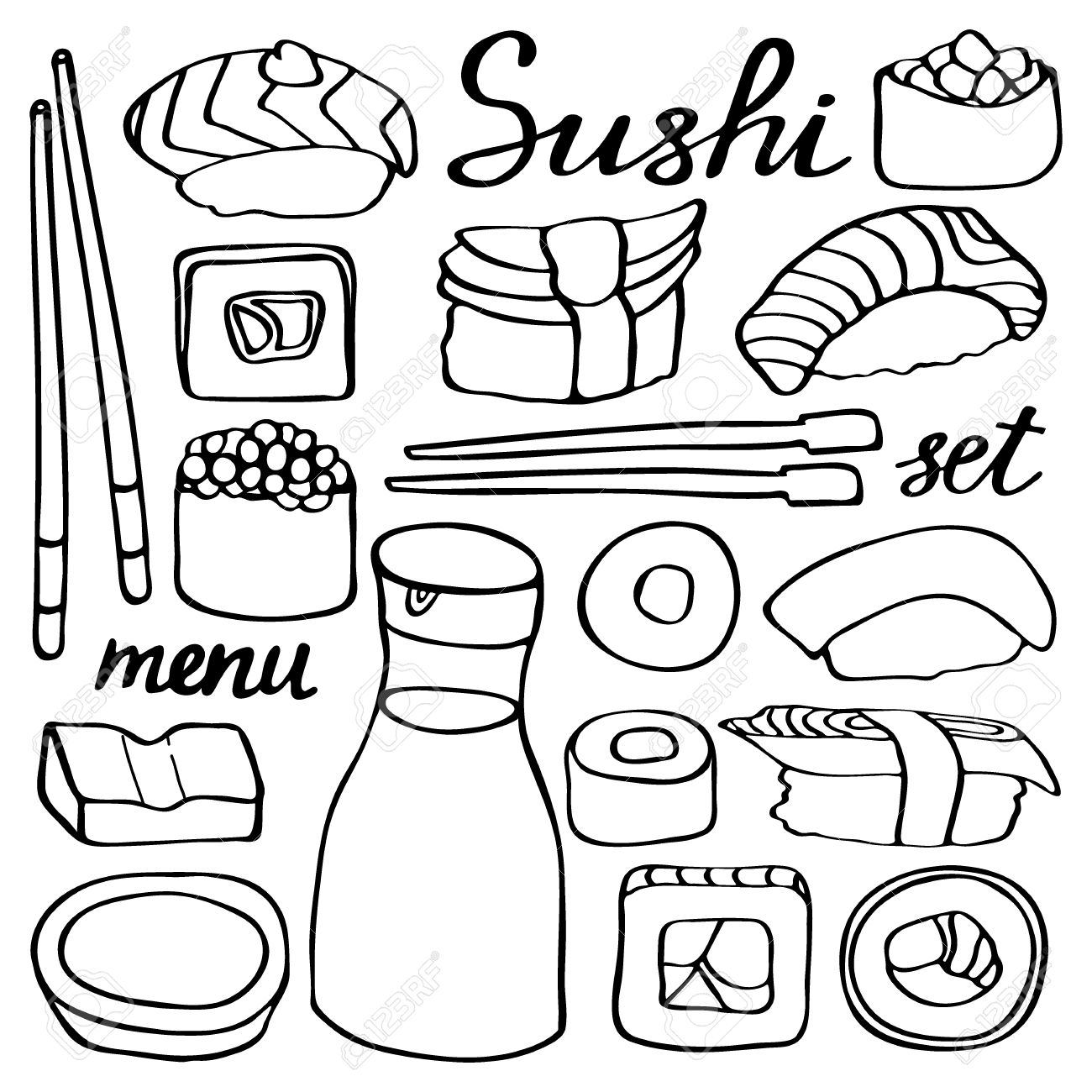 1300x1300 Sushi Set. Hand Drawn Cartoon Collection Of Japanese Food. Doodle