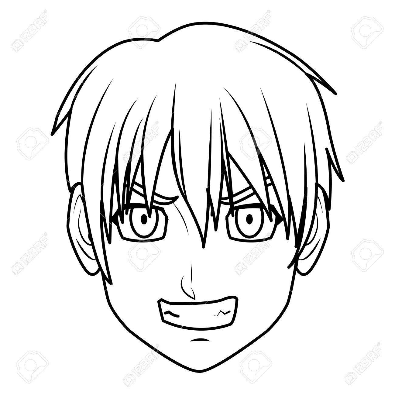 1300x1300 Young Guy. Anime Boy Character Japanese Line Vector Illustration