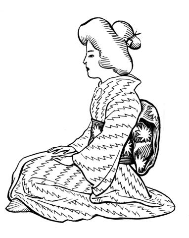 382x480 Japanese Woman Wearing Kimono With Obi Sash Coloring Page Free