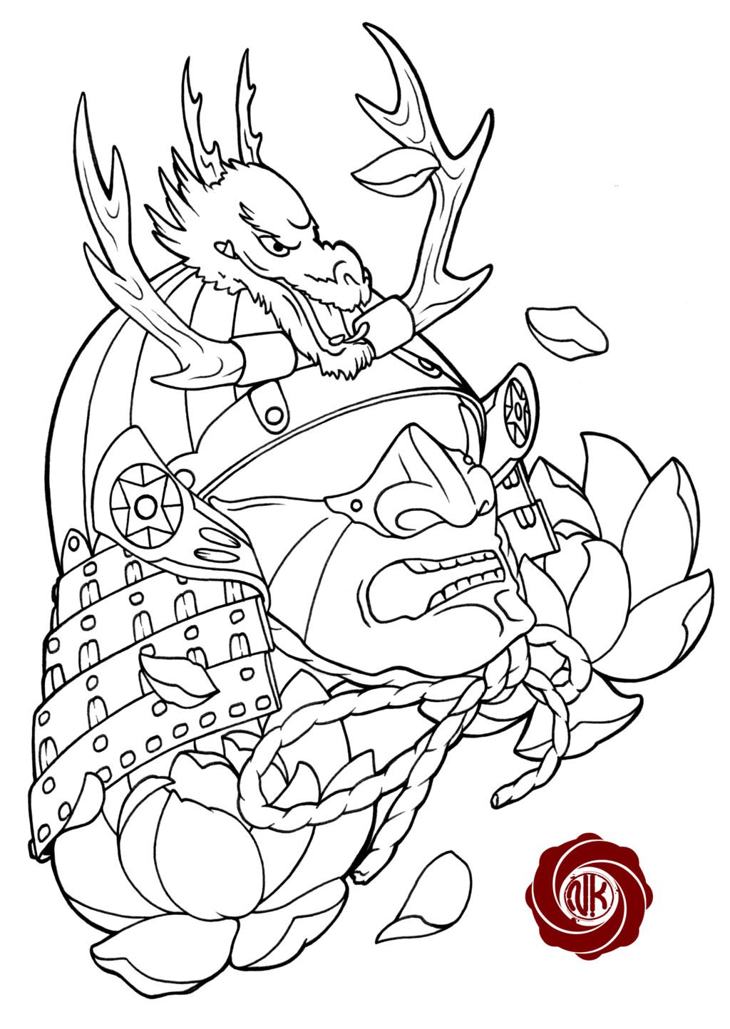 1024x1444 Samurai Sketch Tattoo With Dragon By Punk01