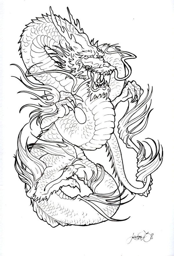 600x882 Dragon Black And White Tattoo Design