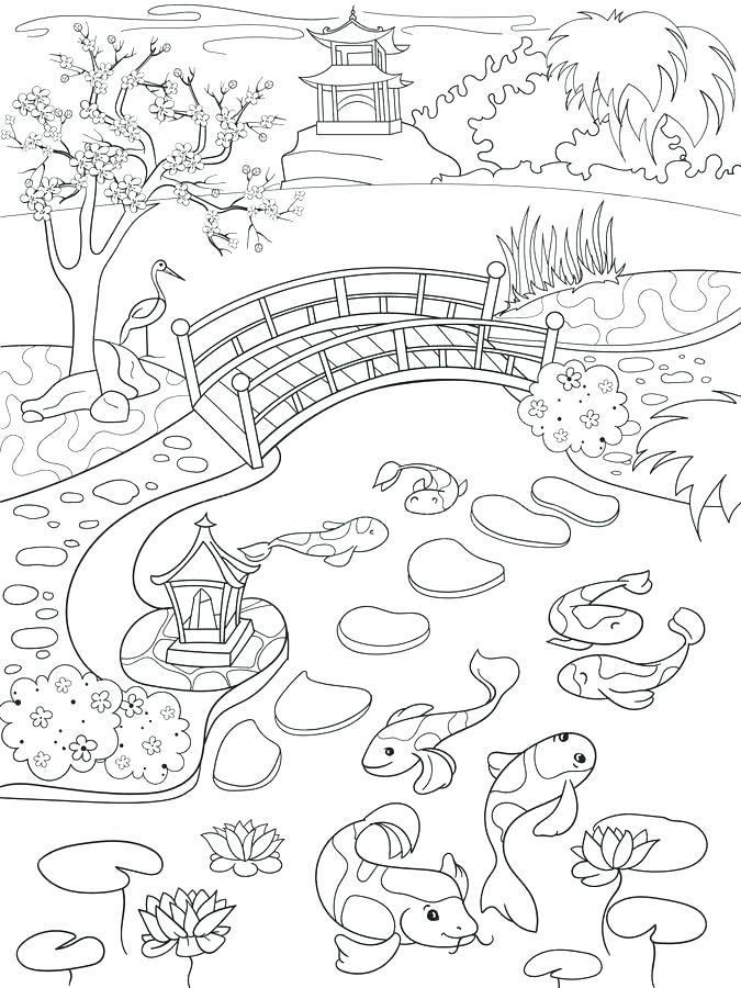 675x900 Japan Coloring Pages Landscape With Lotus And Fish Outline Drawing