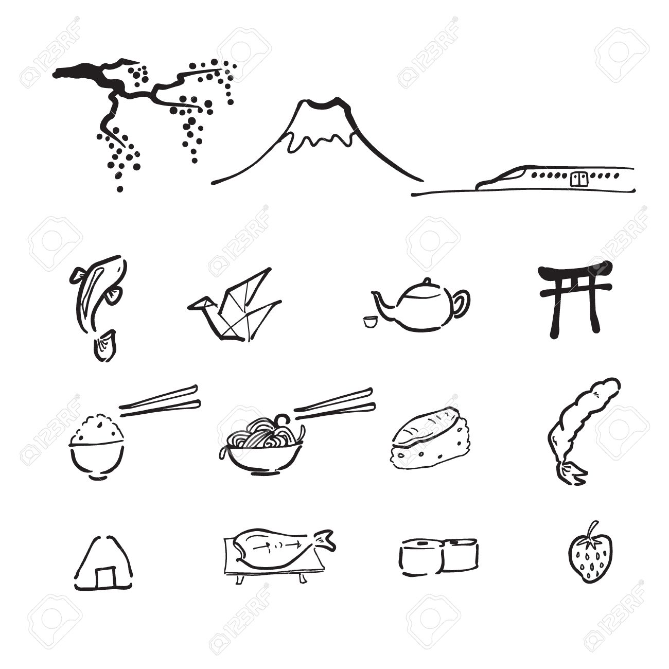 1300x1300 Japan Travel Drawing Doodle Icons Royalty Free Cliparts, Vectors