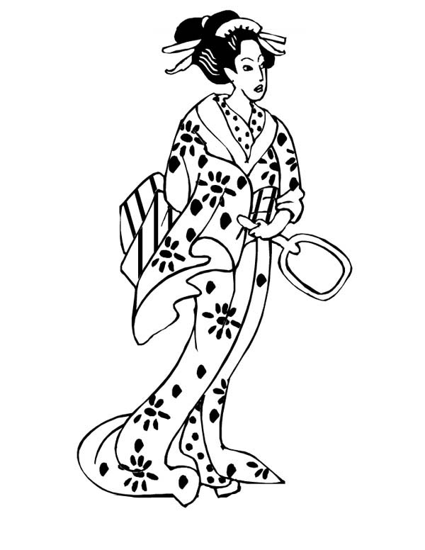 600x776 Geisha Princess Of Japan Coloring Page Coloring Sky