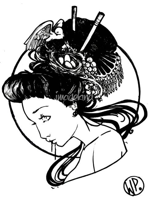 489x650 Stunning Geisha Ink Drawings And Illustrations For Sale On Fine