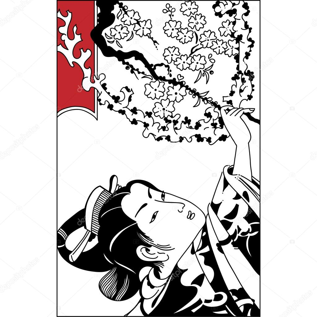 1024x1024 Spring Season Vector Background With Beautiful Japanese Geisha