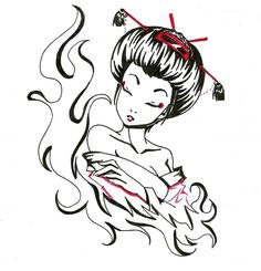 236x245 Vector Geisha Asian Artwork Asian Artwork