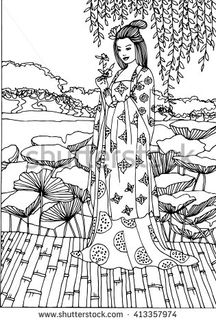 315x470 Vector Japan Geisha Illustration Artes Vector