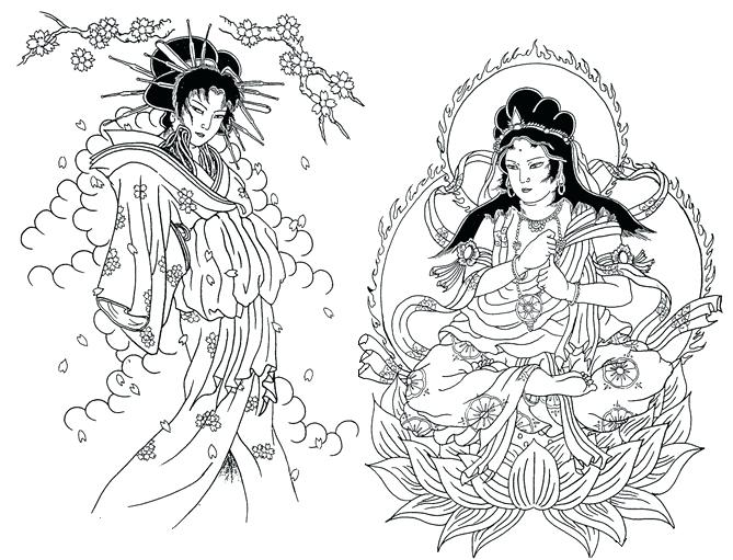 669x511 Geisha Coloring Pages Coloring For Adults Japanese Geisha Coloring