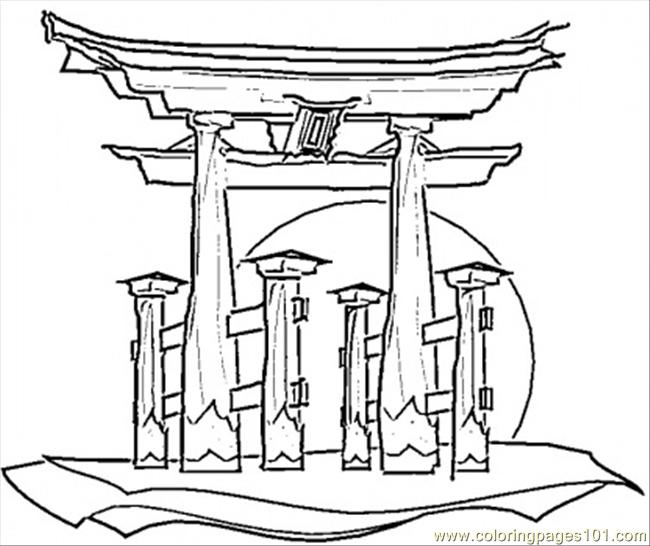 650x546 Japanese House Coloring Page