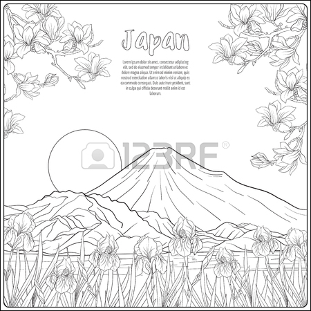 450x450 Japanese Landscape With Mount Fuji Tradition Flowers