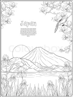 242x320 Japanese Landscape With Mount Fuji, Sea, And Japanese Woman Kimono