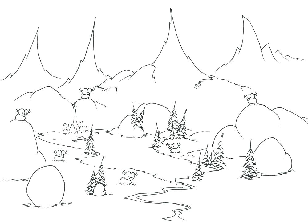 1000x721 Mountains Coloring Page Mountain In Japan Landscape Coloring Pages