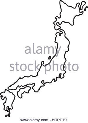 300x419 Japan Map Black And White Illustration Stock Vector Art