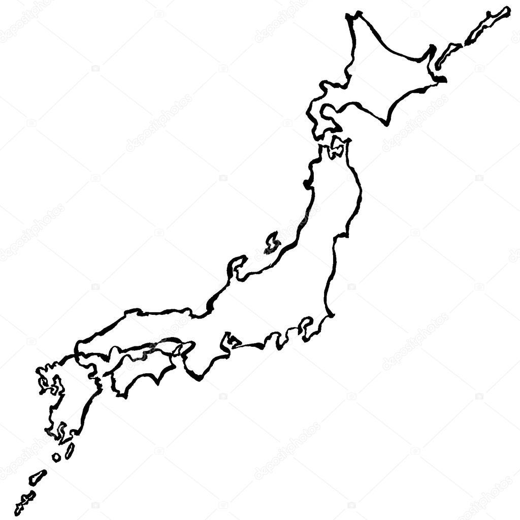 1024x1024 Japan Map. Brush Stroke Line. Stock Vector Lalan33