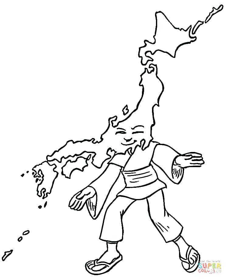 750x923 Japanese Art Coloring Pages Japan Free Page Map