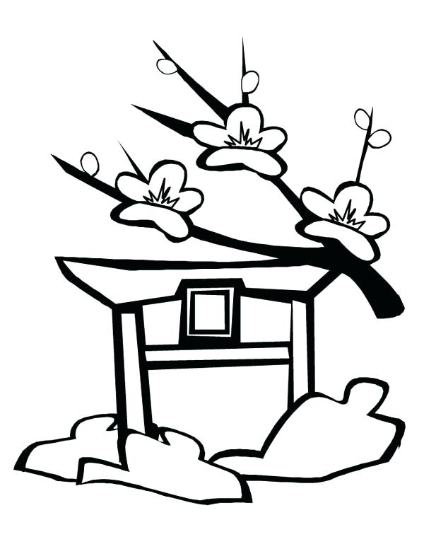 600x776 Japan Coloring Pages Landscape With Lotus And Fish Outline Drawing