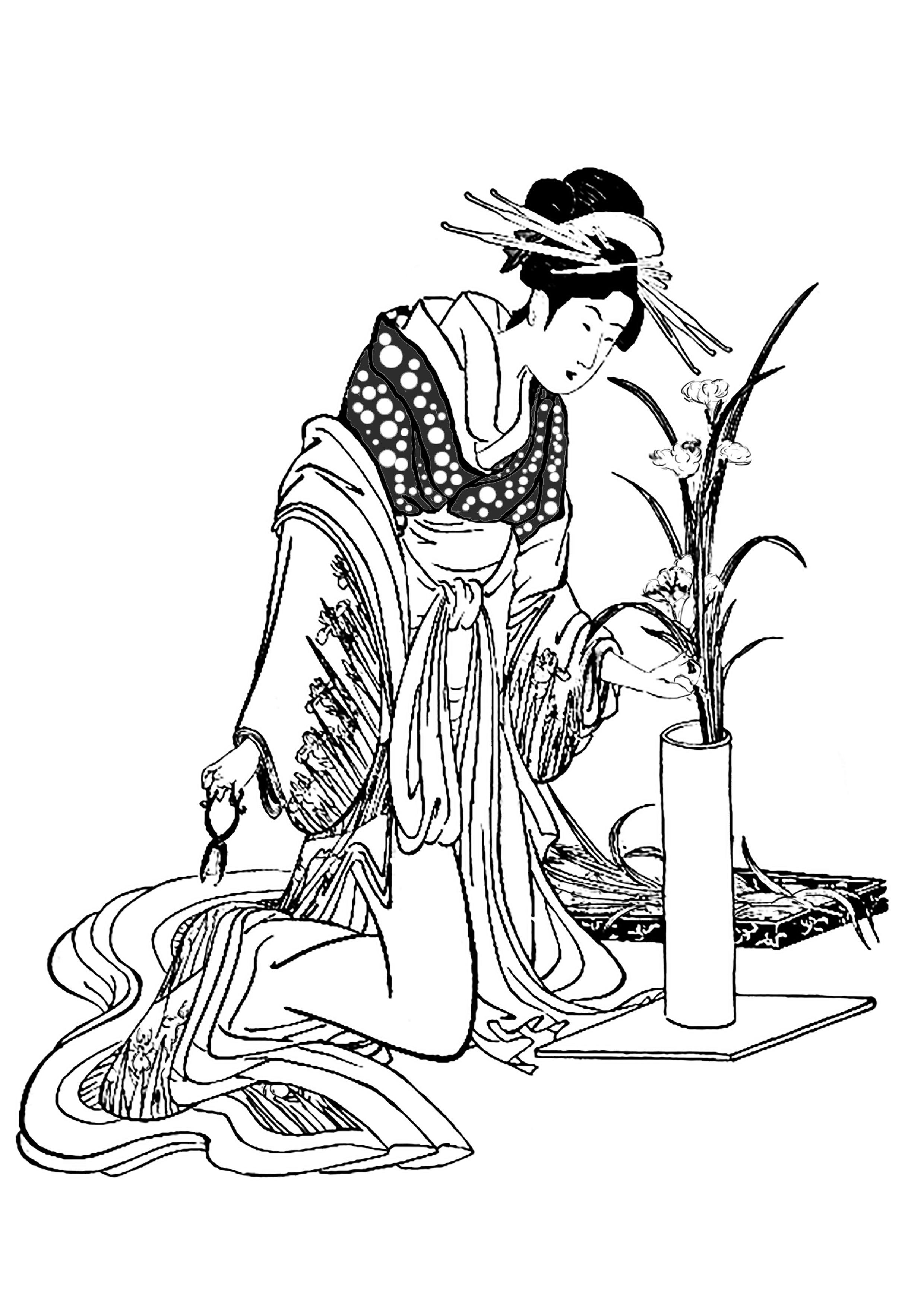 2480x3508 Japon Tenue Traditionnelle Herboriste Japan