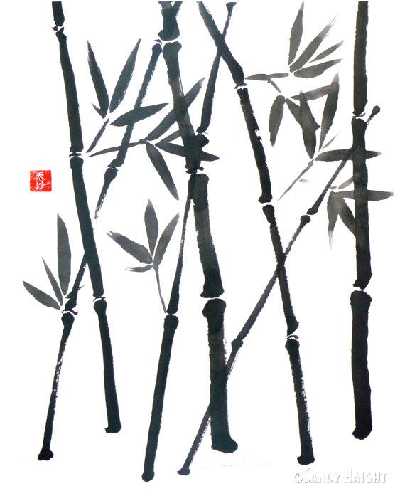 570x690 Original Sumi Brush Painting Bamboo Asian Japanese Wall